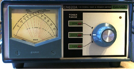 SWR meter with a dual function meter which would show forward and reflected power at the same time and has power setting adjustment depending upon the input power of a maximum of three different levels.